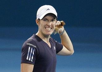 Justine Henin en la final de Brisbane.