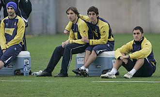 Pareja, Verd�, Forl�n y V�ctor Ruiz, durante un entrenamiento del Espanyol.