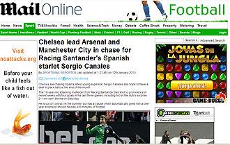 Informaci�n del Daily Mail sobre Sergio Canales