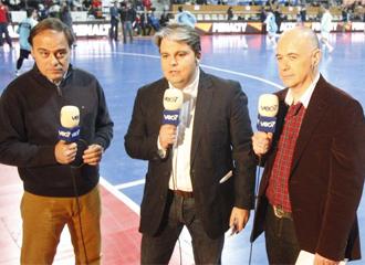 Cancho, M�ndez y Duro, durante la previa de uno de los encuentros de la Supercopa
