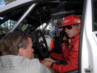 Kimi, durante su participaci�n en el Rally de Finlandia