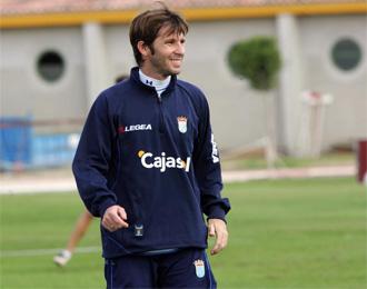 Mendoza, durante un entrenamiento con el Xerez.