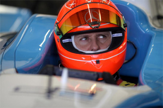 Schumacher, a los mandos de un monoplaza de GP2 en el circuito de Jerez