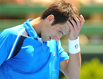 Djokovic lament�ndose durante su partido contra Verdasco