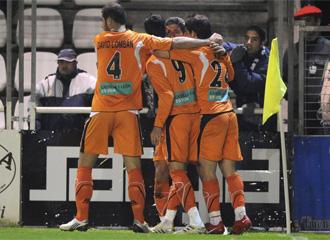 Los jugadores del Salamanca celebran un gol en el Stadium Gal