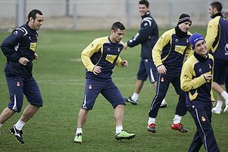 Osvaldo, durante un entrenamiento del Espanyol.