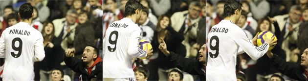 Secuencia del momento en que Cristiano Ronaldo amaga con lanzar la pelota a un aficionado