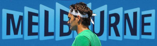 Roger Federer durante un entrenamiento en Melbourne