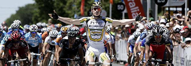 Andre Greipel ganando la primera etapa del Tour Down Under
