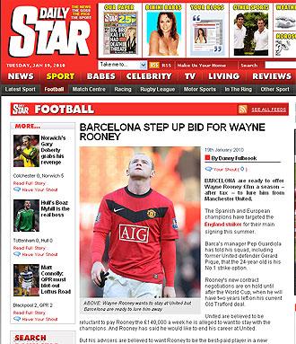 Informaci�n del Daily Star sobre Rooney