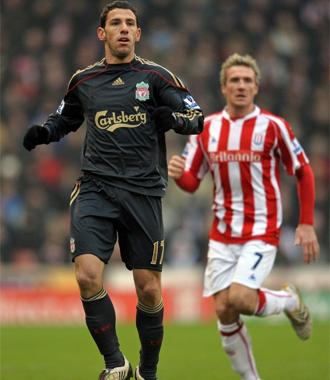 Maxi Rodr�guez, en su debut con el Liverpool.