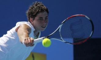 Carla Su�rez en su choque de primera ronda en Australia.