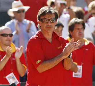 Emilio S�nchez Vicario, durante un partido de Copa Davis de Espa�a