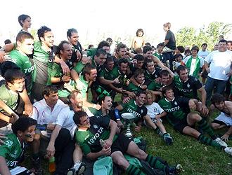 Duendes de Rosario, actual campe�n del Torneo Nacional de clubes, celebra el triunfo tras ganar en la final del Torneo Nacional al campe�n del URBA Top 14, el Hind� Rugby Club