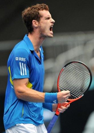 Andy Murray celebra un punto durante un partido en Australia.
