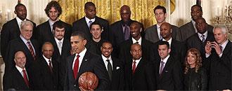 Obama recibi� a los Lakers