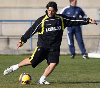 Cosmin Contra, durante un entrenamiento del Getafe.