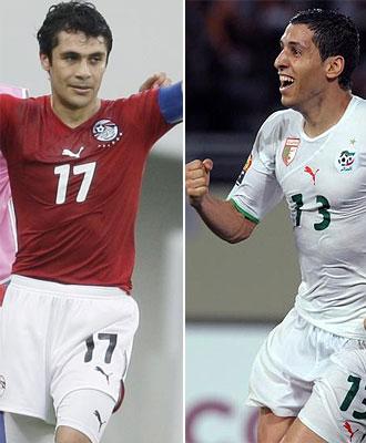 Ahmed Hassan, capit�n de Egipto, y Karim Matmour, estrella de Argelia