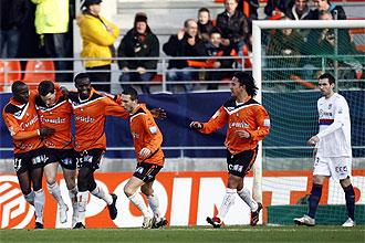 El Lorient celebra el gol de la victoria