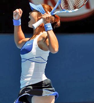 Na Li celebra su triunfo ante Venus en el Open de Australia.