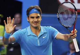 Roger Federer celebra su pase a semifinales en el Open de Australia.