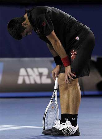 Djokovic, poco antes de la derrota final ante Tsonga.