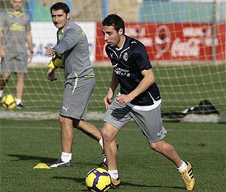 Cazorla, en un entrenamiento del Villarreal.