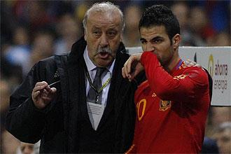 Vicente del Bosque da instrucciones a Cesc F�bregas durante un partido de la selecci�n