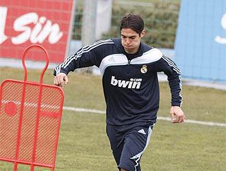 Kak�, durante un entrenamiento con el Real Madrid.