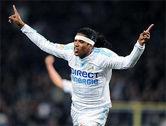 Brandao celebra uno de sus goles ante el Toulouse.