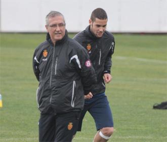 Manzano, durante un entrenamiento del Mallorca