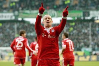 Robben celebra un gol ante el Wolfsburgo.