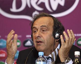 Platini durante la conferencia de prensa dada este s�bado.