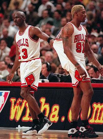Dennis Rodman y Michel Jordan, durante la �poca de esplendor de Chicagol Bulls.