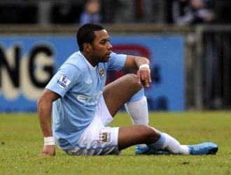 Robinho, en un partido con el Manchester City.