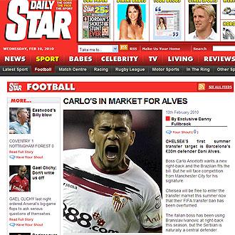 Informaci�n del Daily Star sobre Dani Alves