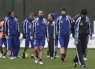 Imagen de un entrenamiento del Deportivo, con Lotina en primera instancia