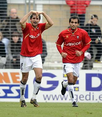 Los jugadores del Albacete celebran un gol.