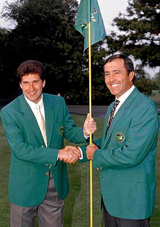 Chema y Seve, con las chaquetas verdes de ganadores en Augusta en 1995.