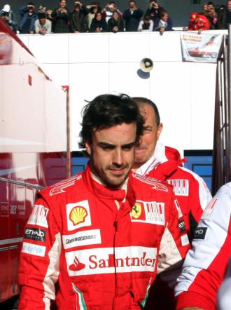 Fernando Alonso, en los entrenamientos de Jerez