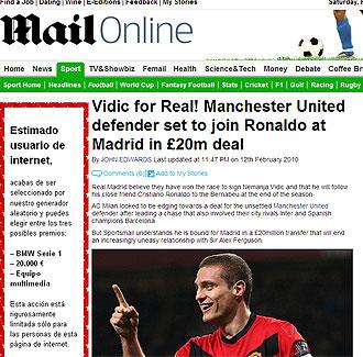 Informaci�n del Daily Mail sobre Vidic y el Real Madrid