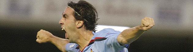 Jordi celebrando un gol con el Celta