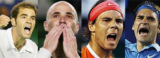 Sampras, Agassi, Nadal y Federer