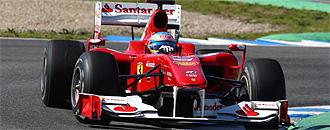 Alonso, con su Ferrari