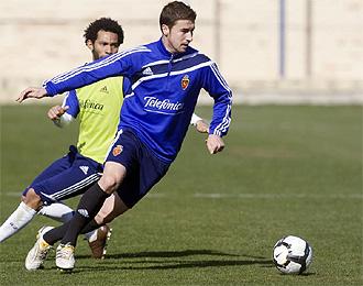 Gabi durante un entrenamiento del Zaragoza.