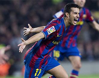 Pedro celebra el gol ante el M�laga que supuso el 1-0.