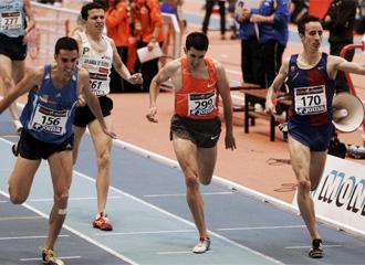 Rodr�guez, junto a Higuero, Ruiz y Olmedo, en la fina de 1500 del Campeonato de Espa�a de Pista cubierta