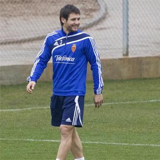 Paredes, durante el entrenamiento del Zaragoza