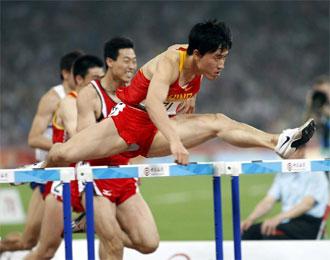 Liu Xiang, en plena competici�n.