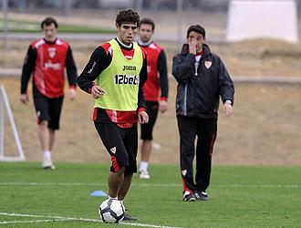 Fazio, durante un entrenamiento del Sevilla esta semana.